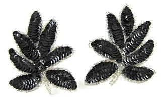 "Leaf Pair with Black Sequins and Silver Beads 4"" x 3"""