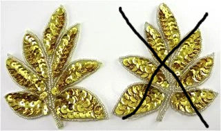 "Leaf Pair with Brilliant Gold Sequins and Silver Beads 4"" x 3"""
