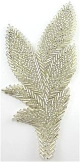 "Leaf Single with Silver Beads 6"" x 3"""