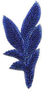 "Leaf Single with Blue Beads 6"" x 3"""