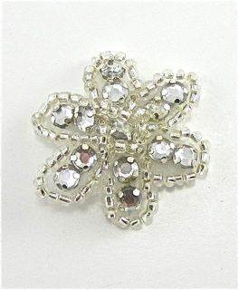 Flower with Silver Beads and Acrylic  Rhinestones 1""