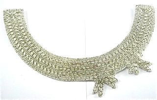 "Designer Motif Neck Line with Silver Beads and Beaded Bow 9"" x 6"""