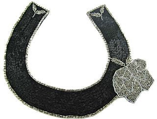 "Designer Motif Neck Line Black and Silver Beads with Flower 10.5"" x 10"""