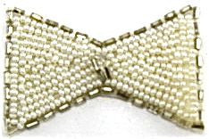 "Bow with White Beads and Silver Beaded Trim 2.5"" x 1.5"""