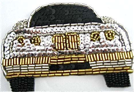 "BMW with Silver/Black Sequins and Gold Beads  4"" X 2.5"""