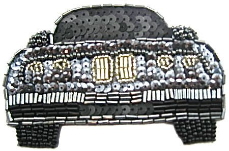 "BMW with Charcoal, Black, Silver Sequins and Beads 4"" x 2.5"""