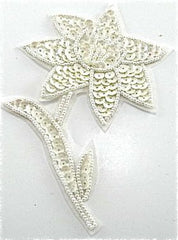 "Flower with White Sequins and Beads  5.5"" X 4""."