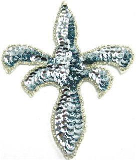 "Design Motif with Ice Blue Sequin Fleur de lie 5"" x 4"""