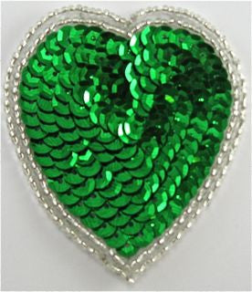 Heart Emerald Green Sequins and Beads 2.75""