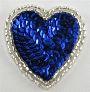 "Heart with Royal Blue Sequins 3"" x 2.5"""