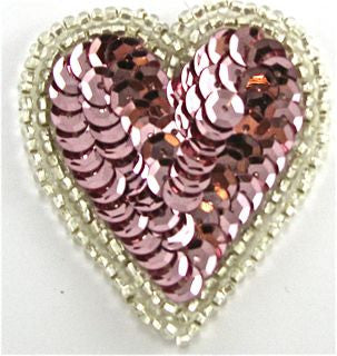 "Heart with Pink Sequin and Silver Beads 2"" x 2"""