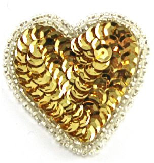 "Heart with Gold Sequins and Silver Beads 3"" x 2.5"""
