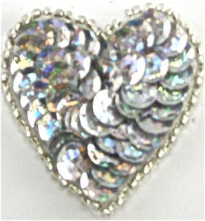 "Heart with Spotlight Silver sequins and Silver Beads 1.5"" x 1.5"""