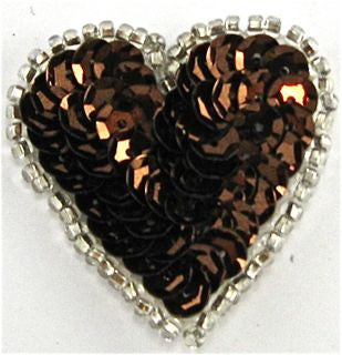 "Heart with Bronze Sequins and Silver Beads 1.5"" x 1.5"""