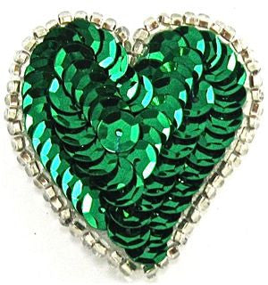 "Heart with Emerald Green Sequins and Silver Beads 1.5"" x 1.5"""