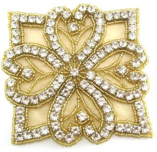 Flower Designer Motif with approx 100 Rhinestones and Gold Beads  3.5""