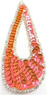 "Design Motif Large Teardrop in Florescent Peach Sequins with Silver Beads 1.5"" x 4"""