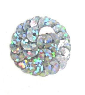 6 PACK Circles and Dots Spotlight Laser Silver Sequins with NO Beads 1""