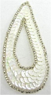 "Design Motif Small Teardrop with White Sequins and Silver Beads 1.5"" x 3"""