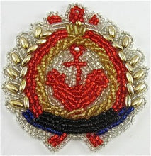 "Load image into Gallery viewer, Anchor Nautical Emblem with all Beads 2.5"" x 3"" - Sequinappliques.com"