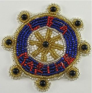 "Nautical Ship Wheel ""Marine"" with Beads 3"""