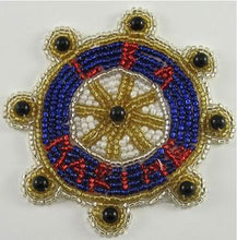 "Load image into Gallery viewer, Nautical Ship Wheel ""Marine"" with Beads 3"""