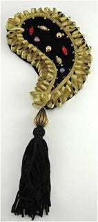 Epaulet Paisley Black and Gold with Tassel and Gems 9.5