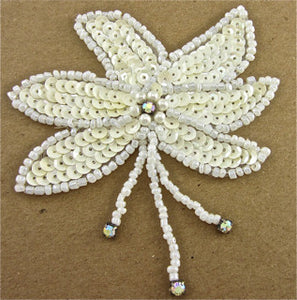 "Flower Epaulet Single with Cream Sequins and Beads 4"" x 3.5"""