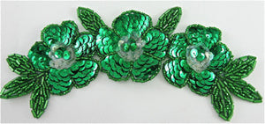"Flower Triple with Green Sequins and Beads 7"" x 3"""
