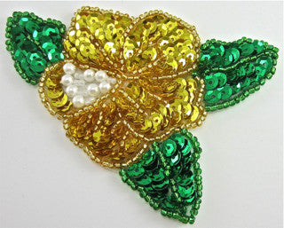 "Flower with Gold and Green Sequins and Beads 3"" x 3.5"""