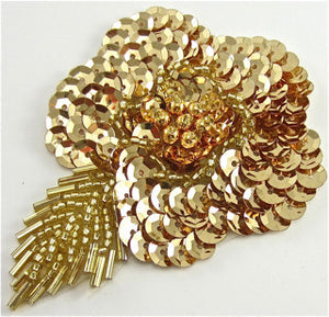 "Flower with Gold Sequins and Beads 3"" x 3.5"""