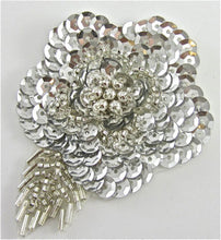 "Load image into Gallery viewer, Flower with Silver Sequins and Beads 3.5"" x 2.5"""