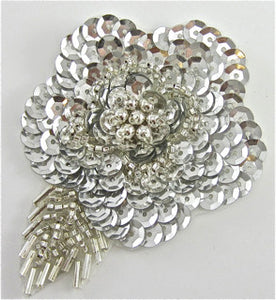 "Flower with Silver Sequins and Beads 3.5"" x 2.5"""