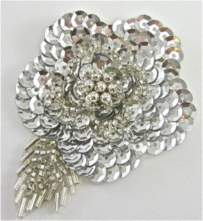 Flower with Silver Sequins and Beads 3.5