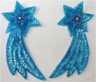 "Shooting Star with Light Turquoise Sequins and Beads and AB Rhinestones 5.5"" x 3"""