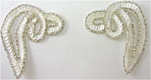"Designer Motif Swirl Pair White with Silver Beads 2.75""x3.5"""