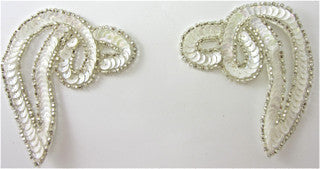Designer Motif Swirl Pair White with Silver Beads 2.75