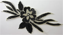 "Load image into Gallery viewer, Flower with Black Sequins and Silver Beads 10"" x 5"""