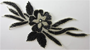 "Flower with Black Sequins and Silver Beads 10"" x 5"""