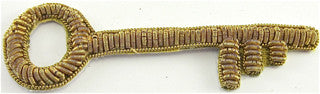 "Key Made with Bullion Gold Thread   2.75"" X 1"""