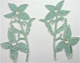 "Flower Pair with Sea Foam Green Sequins and Rhinestone 8.5"" x 6"""