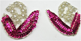 "Flower Pair Fuchsia Sequins with Silver Beading and 8 High Quality Rhinestones 2.5"" x 3.5"""