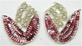 "Flower Pair with Pink Sequins and Rhinestones 2.5"" x 3.5"""