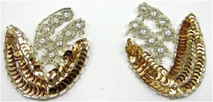"Flower Pair with Gold Sequins and High Quality  Rhinestones 2.5"" x 3.5"""