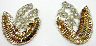 Flower Pair with Gold Sequins and High Quality  Rhinestones 2.5
