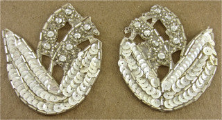 "Flower Pair with White Sequins and Rhinestones 2.5"" x 3.5"""