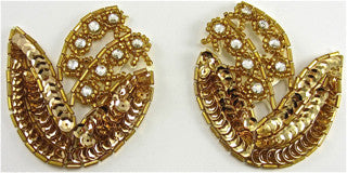 "Flower Pair with All Gold Sequins and Beads and Rhinestones 2.5"" x 3.5"""