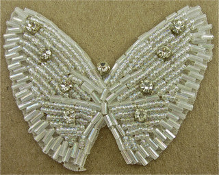 "Butterfly with Iridescent Beads and Nine Rhinestones 3"" x 2.5"""