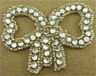"Bow with Silver Beads and 50 Rhinestones 2.25"" x 3"""