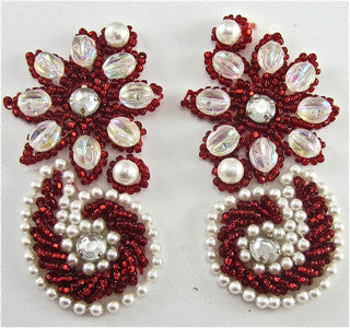 "RED, PEARL AND Iridescent BEADED FLORAL PAIR WITH 2 ACRYLIC RHINESTONES EACH, 2.5"" X 1.5"" EACH."